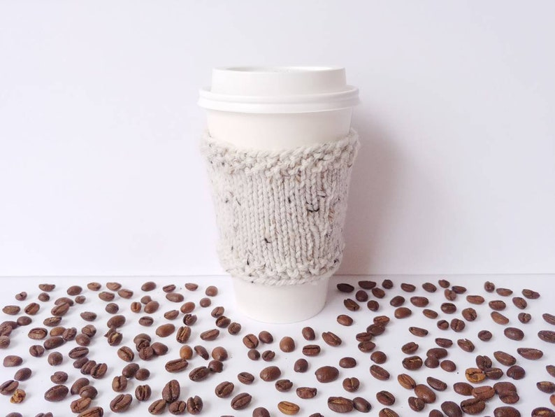 Knit Coffee Cup Cozy Sleeve To-Go Cup Wool Acrylic / Teacher image 0