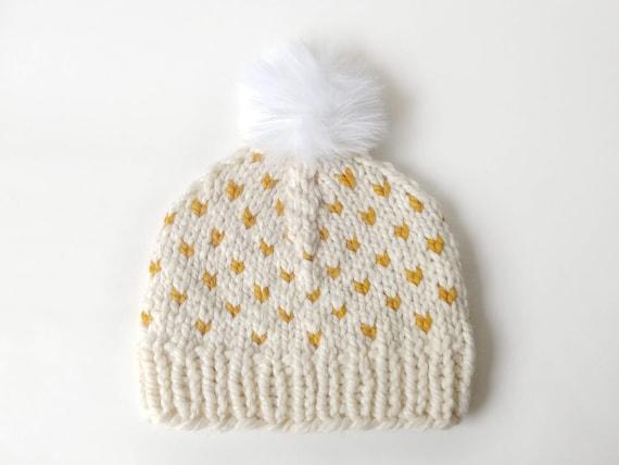 Cuore felice maglia grosso cappello     pon pon di pelliccia  9af635abeb0e
