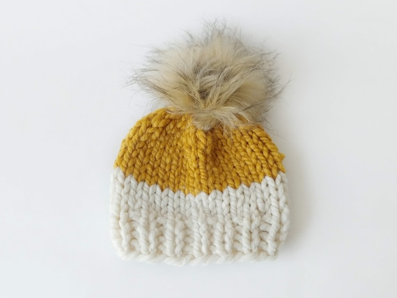 a03ae119bc6 Chunky Knit Pompom Beanie Newborn 0-3 Month    Chunky Hat Faux