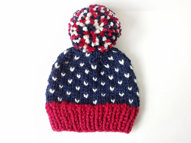 ee959b7c589 MADE TO ORDER Patriots Chunky Knit Happy Heart Hat   Winter
