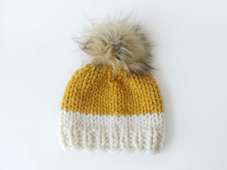 f7003dba6d7 Chunky Knit Pompom Beanie 3-6 Month Baby    Chunky Hat Faux
