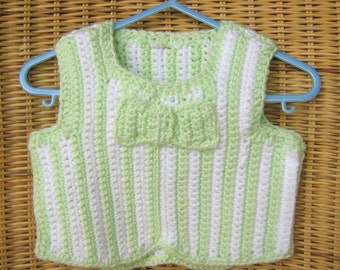 Crochet Spring Sweater Vest with Bow Tie