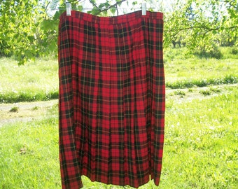 ce7ef435c Retro 90s Does STEAMPUNK SCOTTISH Red PLAID, Cosplay, English, Lovely Wool  Pleated Skirt, Alfred Dunner, Waist 40 Inches, 14