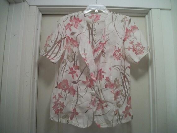 Vintage 80s COTTAGECORE FOLKLORE Semi Sheer Floral