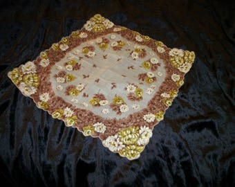 Retro VINTAGE Lovely Browns Creams Whites & Yellows 1950s FLORALS HANKIE