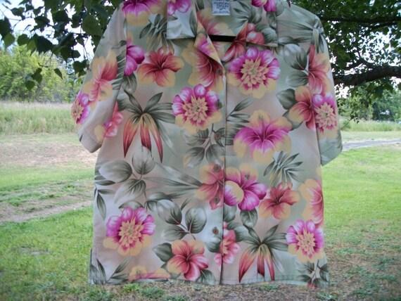 SEXY TROPICS Retro 80s Florals HAWAII Blouse, w sh