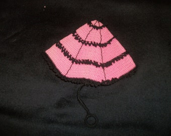 a EDWARDIAN Victorian STEAMPUNK Yet Made in the 50s Pretty in Pink & Black Umbrella Potholder