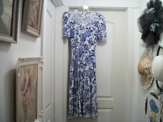 A Blue & White Romantic 80S Dress does EDWARDIAN G
