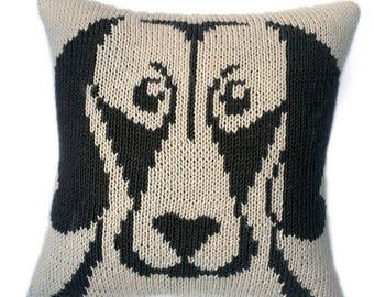 Weimaraner, cushion knitting pattern, knitted cushion cover pattern, dog face pillow, pdf knitting pattern, knitting patterns, knitting, pdf