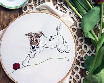Embroidery pattern, pdf, jack russell, embroidery design, hand embroidery, sewing, dog, embroidery hoop art, terrier, dog with ball, JRT