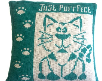 Sydney, knitted cushion cover pattern, pdf, cushion knitting pattern, cat cushion cover, knitting patterns, pdf pattern, cat pattern, cute