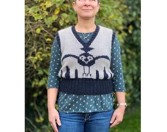 Owl Tank Knitting Pattern, hand knitting pattern, tank top knitting pattern, sleeveless sweater pattern, hand knit pattern, pdf download