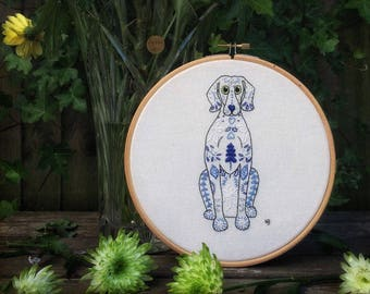Embroidery pattern, pdf, embroidery designs, hand embroidery, sewing pattern, dog, weimaraner, embroidery hoop art, stitch, textile art