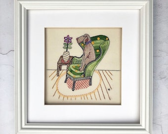 Weimaraner embroidery pattern, pdf download, embroidery design, hand embroidery pattern, cute dog pattern