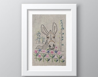 Declan the Donkey embroidery pattern, hand embroidery pattern, pdf pattern download, donkey pattern, embroidery workshop, donkey design
