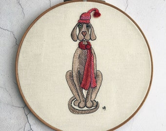 Weimaraner embroidery design, dog embroidery pattern, Christmas embroidery patterns, Winter embroidery design, pdf download, dog in a hat
