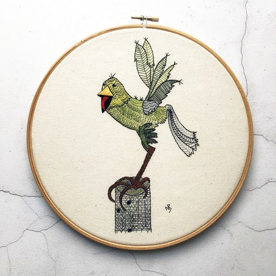 Bird Embroidery Pattern Green Bird Embroidery Design Pdf Etsy