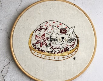 Sleepy Sam, red cat embroidery pattern, pdf download, cat embroidery design, hand embroidery, cat hoop art, cat contemporary embroidery