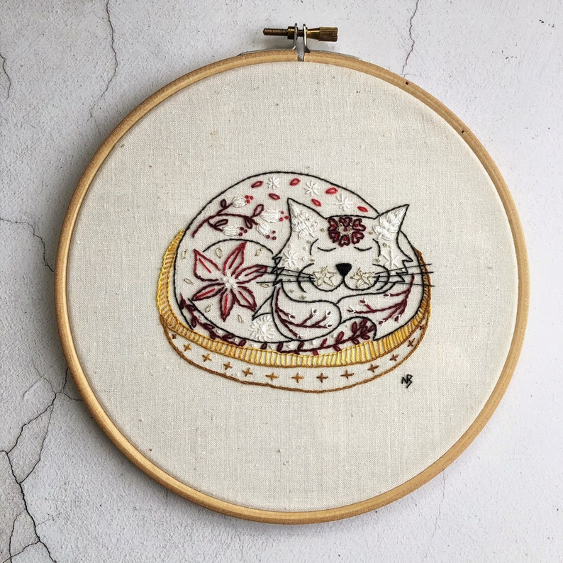 Sleepy Sam red cat embroidery pattern pdf download cat image 0