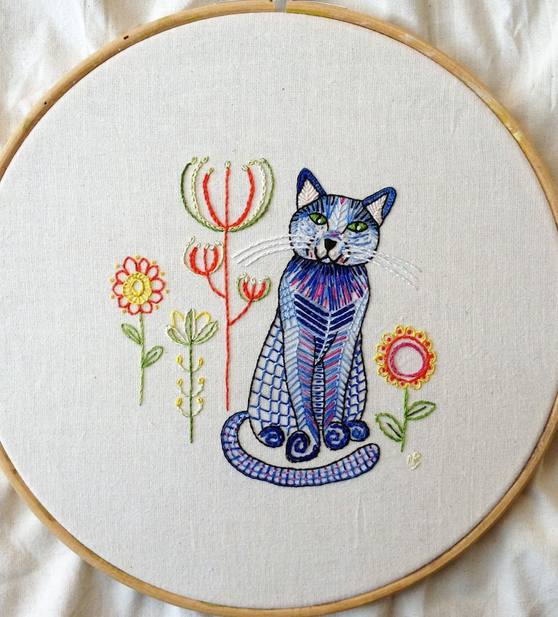 Blue cat embroidery pattern pdf download cat embroidery image 0