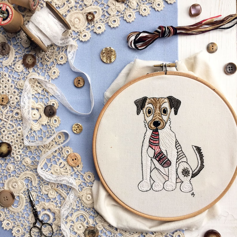 Hand embroidery pattern pdf download jack russell terrier image 0