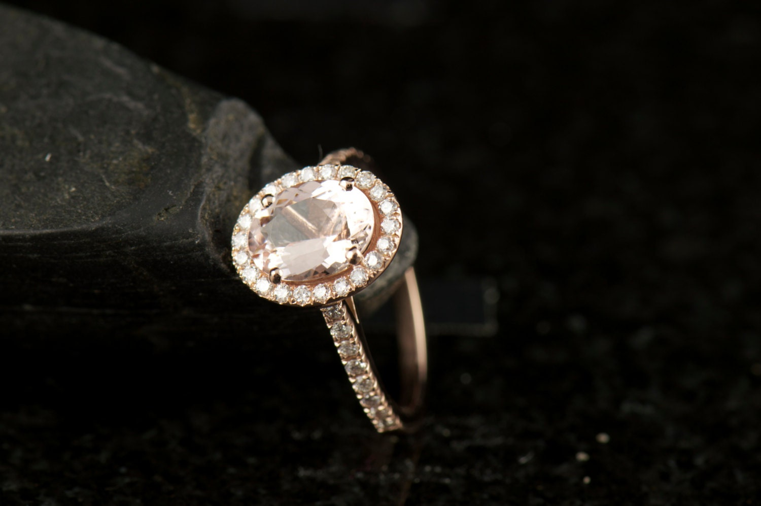 Oval Morganite Engagement Ring in 14k Rose Gold, 8x6mm 1.52ct Morganite, 0.33ctw E-F Color VS Clarity Diamonds, 1.75mm Band, Maria