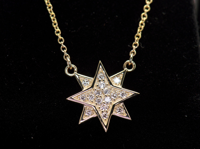 832cbb4b599f0 Diamond Star Pendant in 14k Yellow Gold, Double Star Diamond Pendant,  Starburst, 0.16ctw, 12.5mm Wide, Attached 16