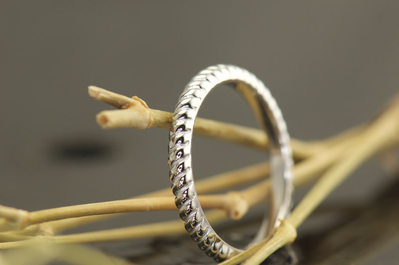 Wedding Ring Eternity Style Rope Design Comfort Fit Kenny Stackable Design 14k White Gold Rope Ring Wedding Band 2mm Wide