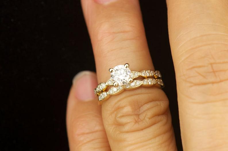 Humor 3ct Round Cut Lotus Flower White Diamond Wedding Bridal Ring In 14k White Gold Fine Jewelry Diamond