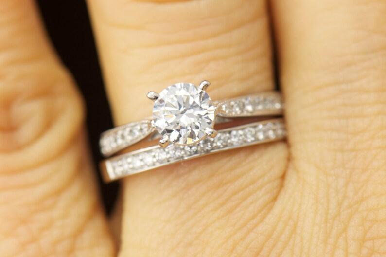 Diamond Fine Rings Bright 3ct Round Cut Diamond Vintage Milgrain Accent Solitaire Ring 14k White Gold Over Bright Luster