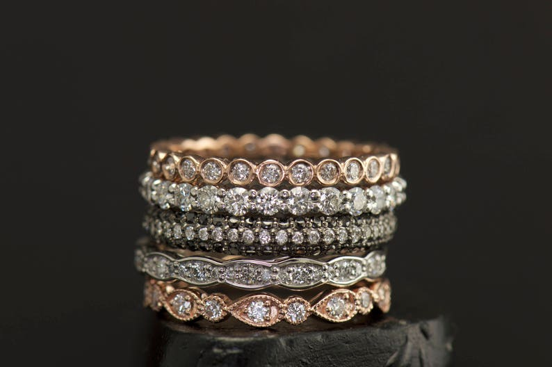cc6a6fbb2e9f8 Diamond Eternity Band Stacking Set, Rose & White Gold, Pear and Bubble,  Scalloped Band, Milgrain, Right Hand Rings, Wedding Bands, Julia Set