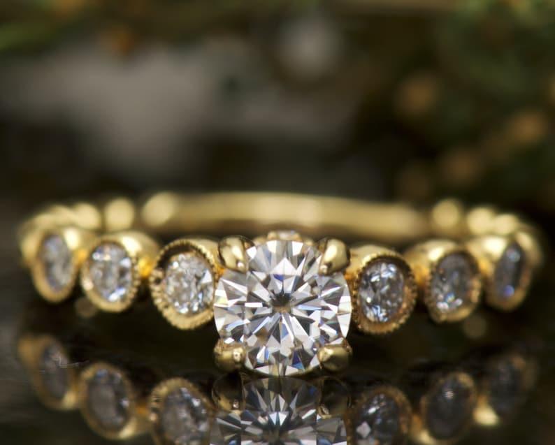 Humor 3ct Round Cut Lotus Flower White Diamond Wedding Bridal Ring In 14k White Gold Jewelry & Watches