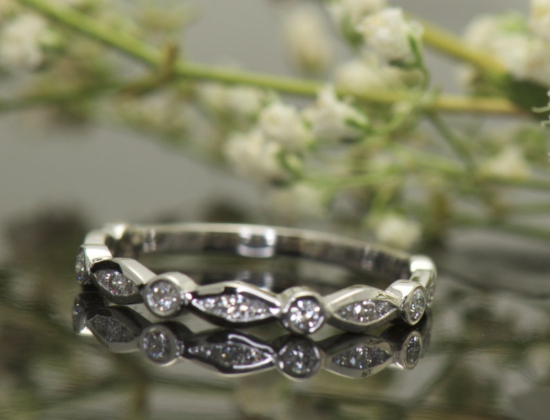 0d7b9e41324 Marquise and Dot Wedding Band in 14k White Gold 0.25ctw E-F