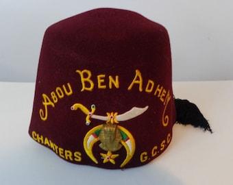 ABOU BEN ADHEM Chanters G.C.S.C Fez Hat a8ec513fee44