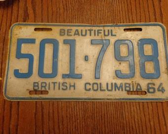 1964 Old British Columbia License Plate, Vintage Rusty Old License, Plate Garage Decor,Shop Decor Old License, Plates 1964 License Plate