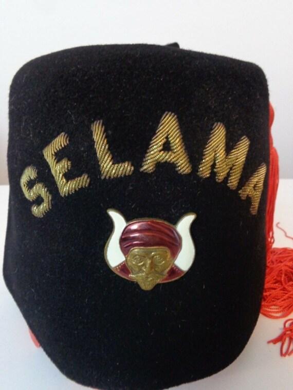 Vintage Fez Hat Black Orange Tassel Fez Shriner Hat ZAFAR  c4e4ec999244