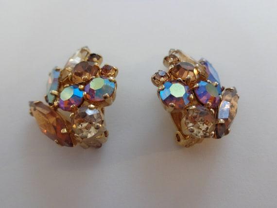 Vintage SHERMAN clip on Earrings, Sherman Earrings