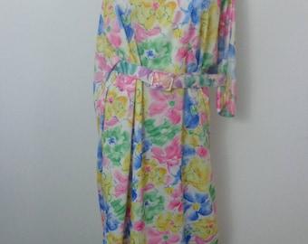 Floral Dress 1970S, Big Girl Dress Vintage, Flower Power Dress, Vintage Ruby Lou XXL, Vintage 70s Dress , Boho 1970s Dress, Moo Moo Dress