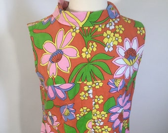 Vintage 60s Psychedelic Sleeveless Dress - Floral Print / Bold / Colorful / Wild - Hippie / Retro / Boho / Festival / Chic / Mod - 1960s