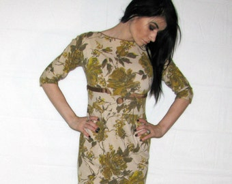 50's Floral Print (Satin Belted) Day Dress - 1950s - Chic / Classy / Elegant