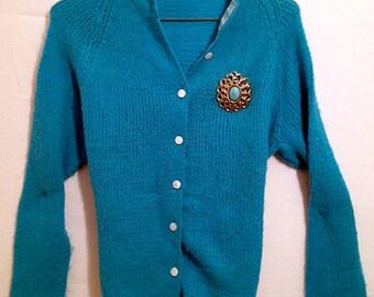 Vintage Handmade 1950's Turquoise Blue Cardigan