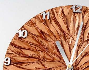 COPPER WALL CLOCK, copper and silver original painting clock office decor unique wall clock with numbers sun clock man cave