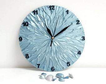 Bluish Silver Decor Wall Clock, Unique Wall Clock, Modern WALL CLOCK, steel blue clock, Blue Gift for Him, housewarming gift, Office decor