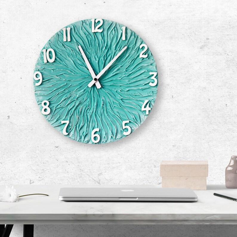 Türkis Wanduhr große Uhr Türkis Wand Dekor Türkis