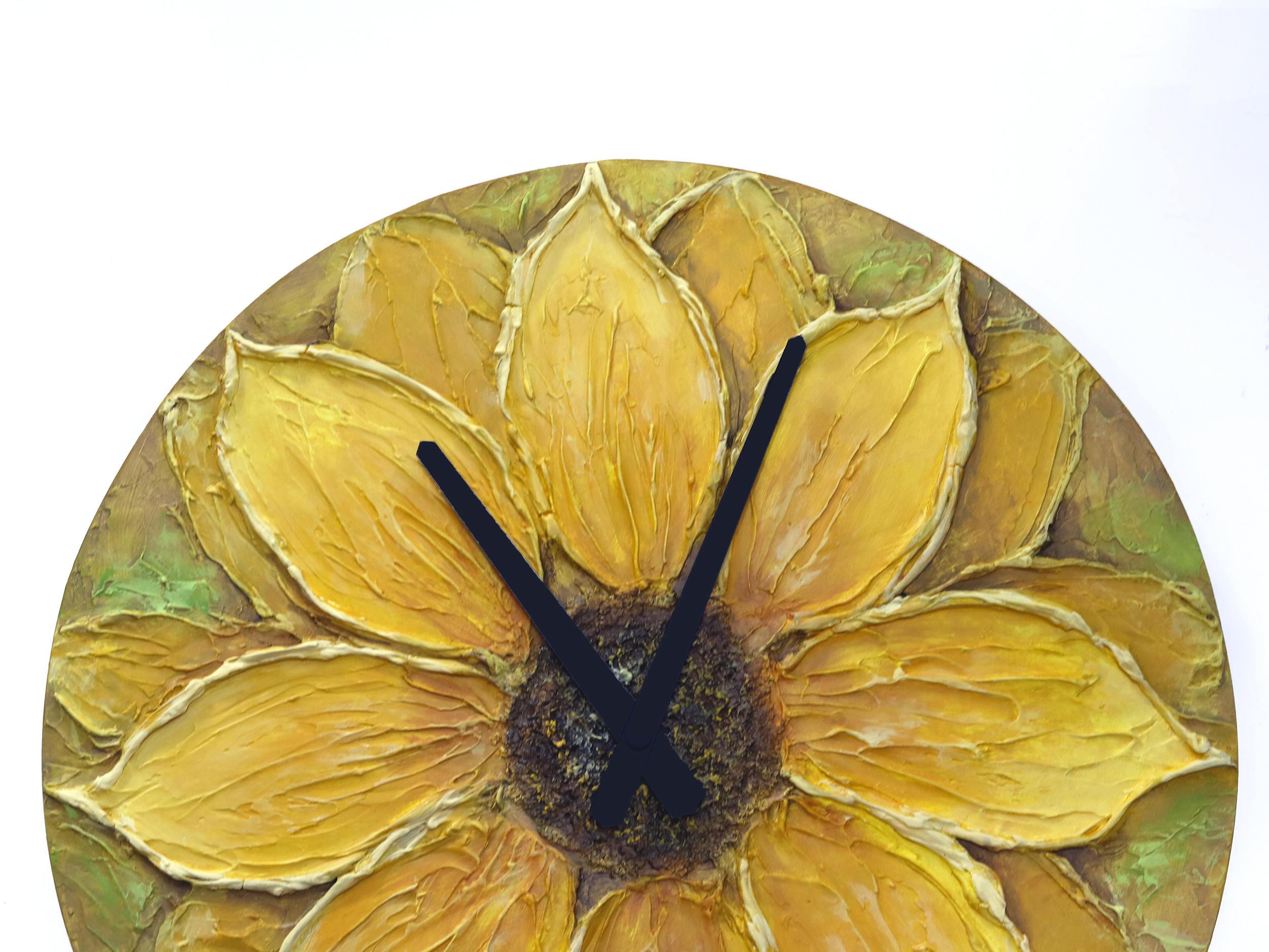 Sunflower Decor Original Painting Large WALL CLOCK SUNFLOWER   Etsy