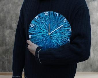 Metallic BLUE WALL CLOCK, Blue Clock, modern wall clock, blue office decor, man cave decor