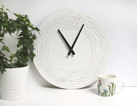GROßE WANDUHR Uhr Weiß Wohnkultur Hochzeitsgeschenk Weiß | Etsy