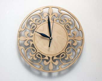 Art Nouveau Wall Clock, WOOD WALL CLOCK, Art Deco Home Decor, Art Nouveau