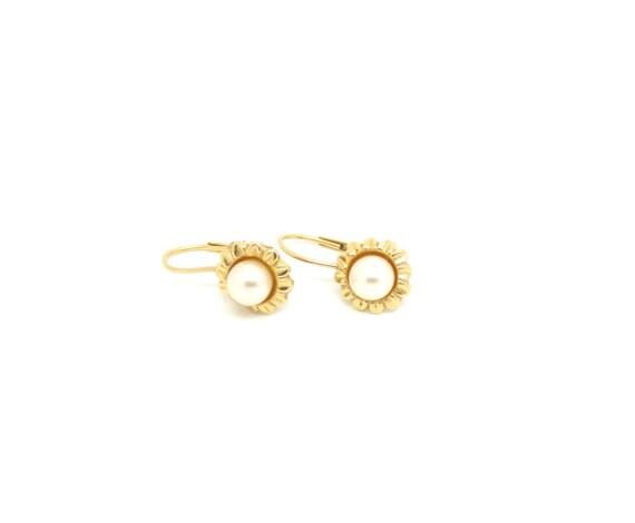 14k gold pearl earrings ~ Yellow gold earrings ~ 5