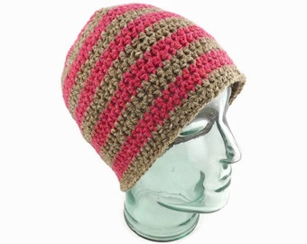 Stripy Crochet Hat, Wool Hat, Wool Beanie, Rustic Winter Hat, Warm Hat, Gift for Mother, Knit Hat, Womens Hat, Winter Hat, Wool Toque, Pink